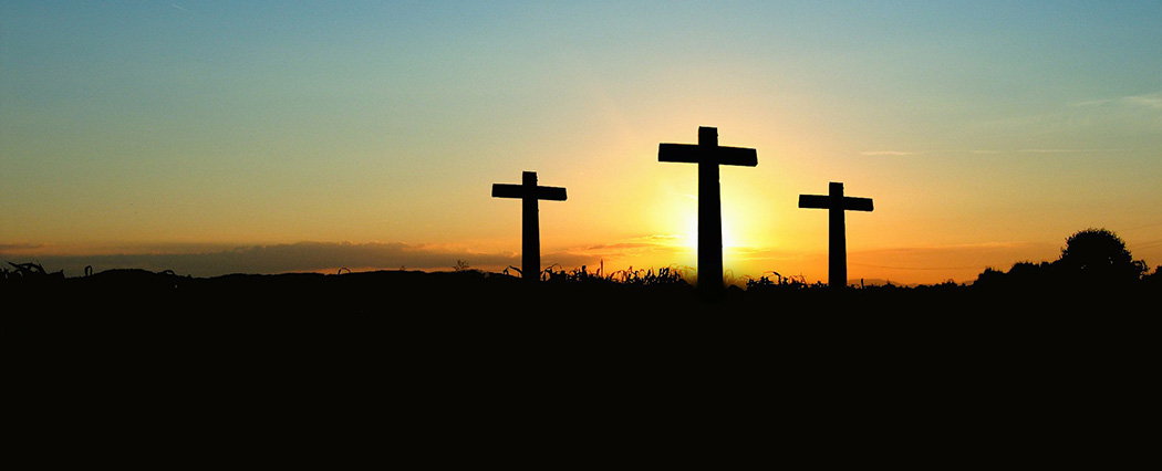 three cross and sunset